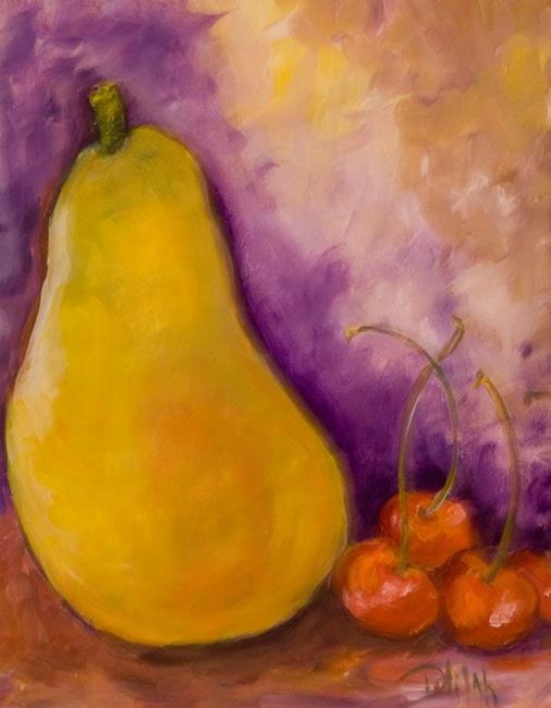 Art: Pear and Cherries-SOLD by Artist Delilah Smith