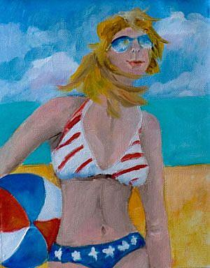 Art: Fourth of July Diva-SOLD by Artist Delilah Smith