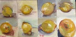 Art: 10 min Study of Lemons #1 and #2-sold by Artist Delilah Smith