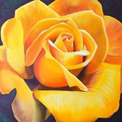 Art: YELLOW ROSE by Artist Kate Challinor