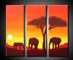Art: ELEPANTS AT SUNSET by Artist Kate Challinor