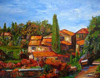 Art: Mountian Tuscany Villa  by Artist Mary Jo Zorad