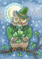 Art: LUCK TO THOSE WHOOO FIND A 4 LEAF CLOVER by Artist Susan Brack