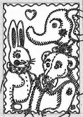 Art: SEPIA DOODLE TEDDY HARE - Stamp by Artist Susan Brack