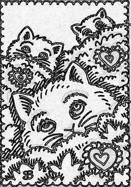 Art: SEPIA DOODLE CATS HIDE - Stamp by Artist Susan Brack