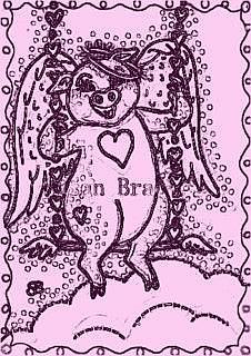Art: FRECKLES - Pig Angel Stamp by Artist Susan Brack