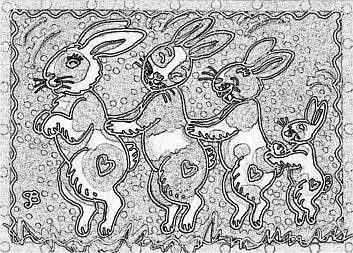 Art: BUNNY HOP - Rabbit Stamp by Artist Susan Brack