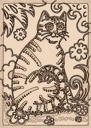Art: SEPIA DOODLE CAT STRIPES - Stamp by Artist Susan Brack