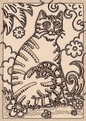 Art: SEPIA DOODLE CAT STRIPES - Stamp by Artist Susan Brack