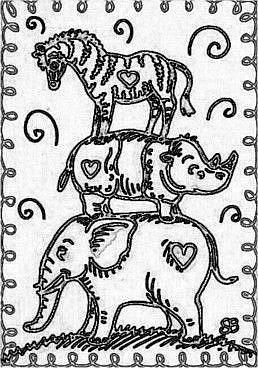 Art: SMILES ARE FREE ARK ANIMALS - Stamp by Artist Susan Brack