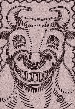 Art: SMILES ARE FREE BULL - Stamp by Artist Susan Brack
