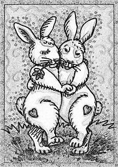 Art: TAKES TWO TO TANGO - Rabbit Hare Stamp by Artist Susan Brack