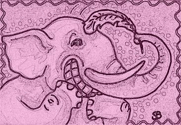Art: TICKLED PINK - Elephant Stamp by Artist Susan Brack