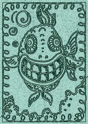 Art: SMILES ARE FREE FISH - Stamp by Artist Susan Brack