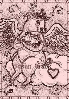 Art: FLYING PIG PRINCESS - Stamp by Artist Susan Brack