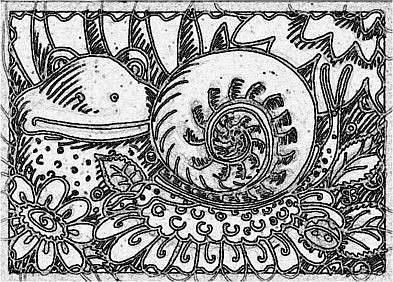 Art: SEPIA DOODLE FROG SNAIL - Stamp by Artist Susan Brack