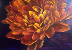 Art: Orange mum by Artist Lauren Cole Abrams