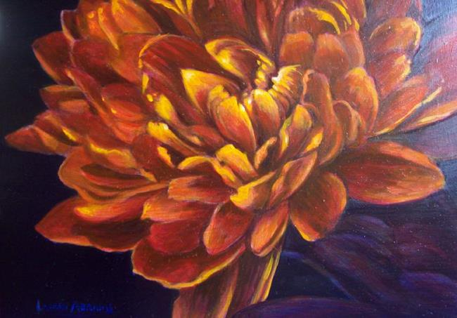 Art: Orange mum by Artist Lauren Cole Abrams