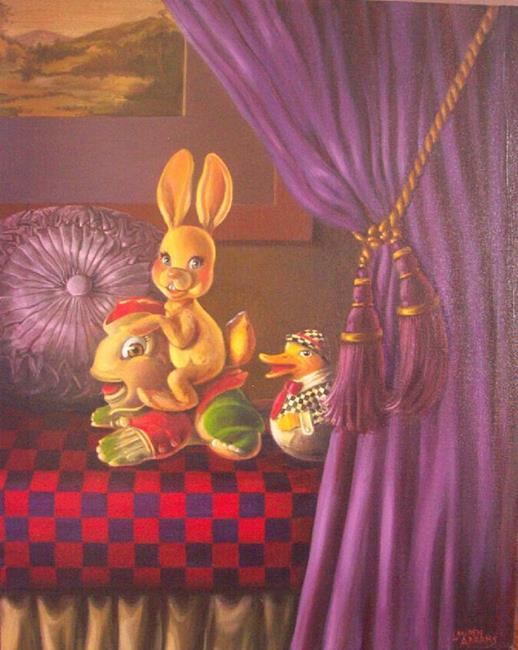 Art: Frog and Bunny and Duck by Artist Lauren Cole Abrams