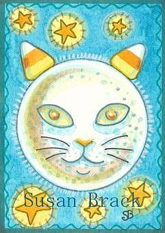 Art: CAT IN A HALLOWS EVE MOON by Artist Susan Brack