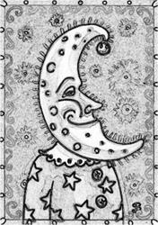 Art: MAN IN THE MOON - Stamp by Artist Susan Brack
