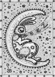 Art: HARE MOON - Stamp by Artist Susan Brack