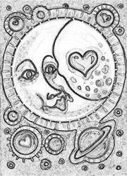 Art: MOONBEAMS N' GALAXIES - Stamp by Artist Susan Brack