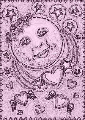 Art: LOVER'S MOON - Stamp by Artist Susan Brack