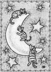 Art: MOON KITTIES - Stamp by Artist Susan Brack