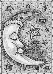 Art: WINTER'S MOON - Stamp by Artist Susan Brack
