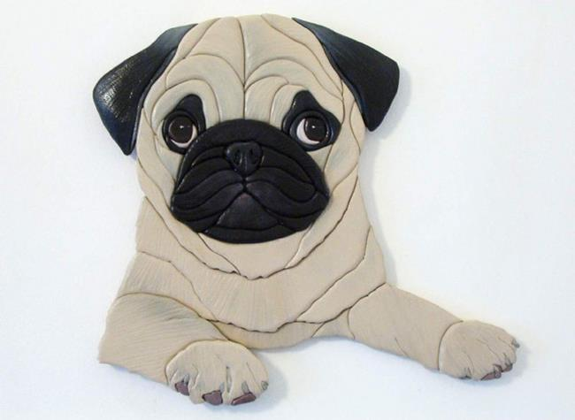 Art: SUZY PUG PUPPY ORIGINAL PAINTED INTARSIA ART by Artist Gina Stern