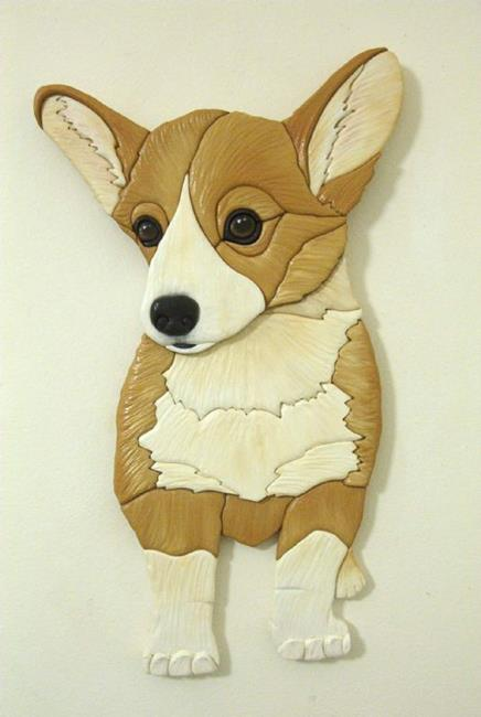 Art: SWEET CASEY CORGI  ORIGINAL PAINTED INTARSIA ART by Artist Gina Stern