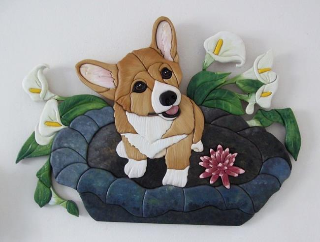 Art: SWEET CHLOE CORGI IN A BIRD BATH, ORIGINAL PAINTED INTARSIA ART by Artist Gina Stern