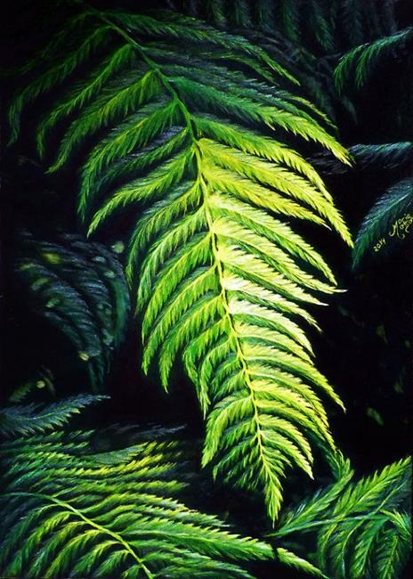 Art: Ferns in the Redwoods  (SOLD) by Artist Monique Morin Matson