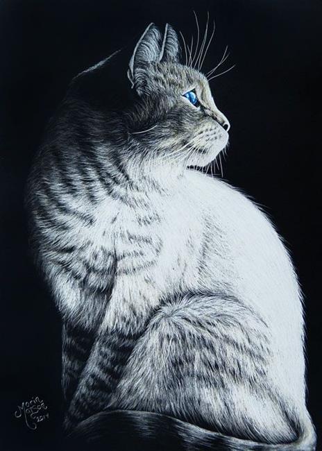 Art: Sitting Cat  (SOLD) by Artist Monique Morin Matson