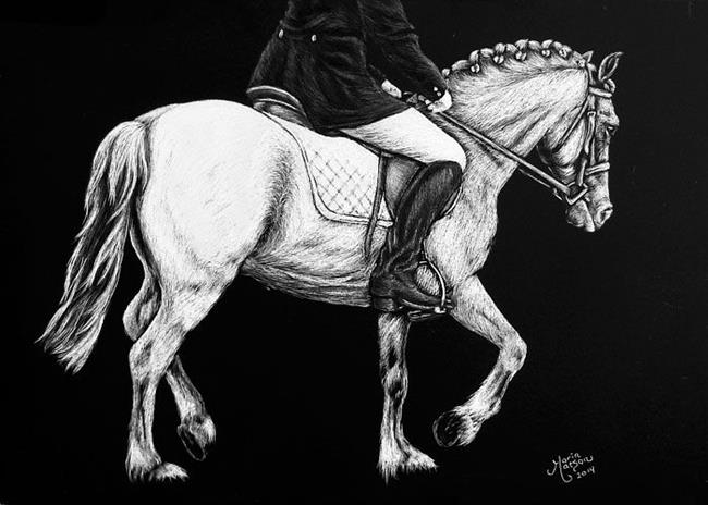 Art: Dressage Rider & Pony by Artist Monique Morin Matson