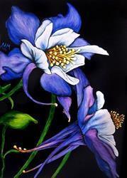 Art: Purple Columbine by Artist Monique Morin Matson