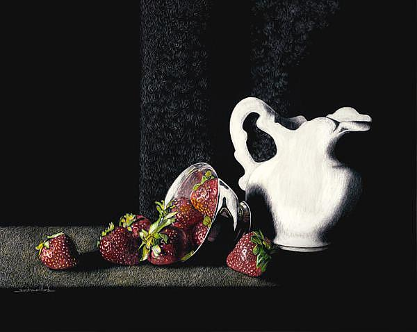 Art: Strawberries & Cream by Artist Sandra Willard
