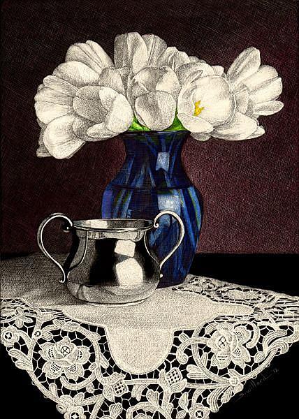 Art: Tulips in Blue Vase by Artist Sandra Willard