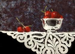 Art: Bowl of Cherries with Lace by Artist Sandra Willard