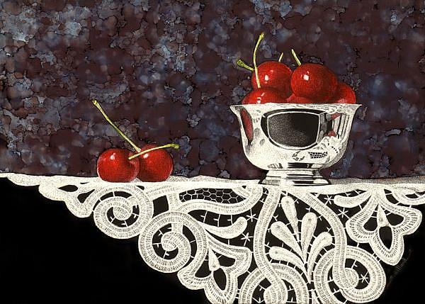 Art: Bowl of Cherries with Lace by Artist Sandra Willard