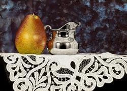 Art: Pear and Silver Creamer by Artist Sandra Willard