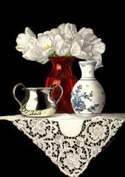 Art: Red Vase and Lace by Artist Sandra Willard