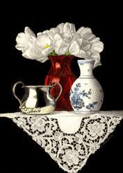 Art: Red Vase and Lace by Artist Sandra Willard