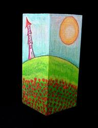 Art: POPPIES AND A TURRET by Artist Sherry Key