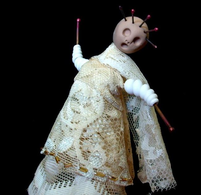 Art: Art Doll Clay Copper Lace Vintage by Artist Sherry Key