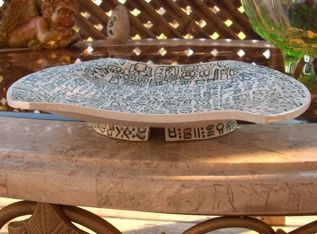 Art: Heiroglyph Dish by Artist Sherry Key