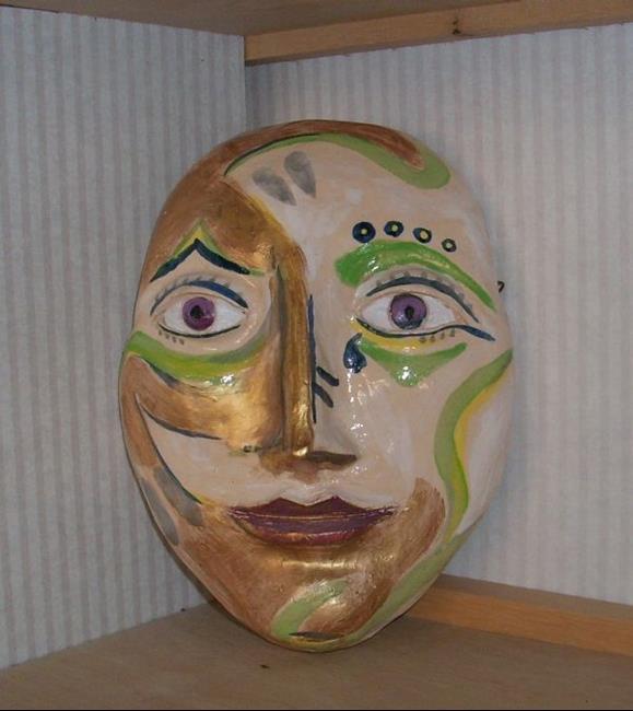 Art: Fiesta Face-Sculpture by Artist Sherry Key