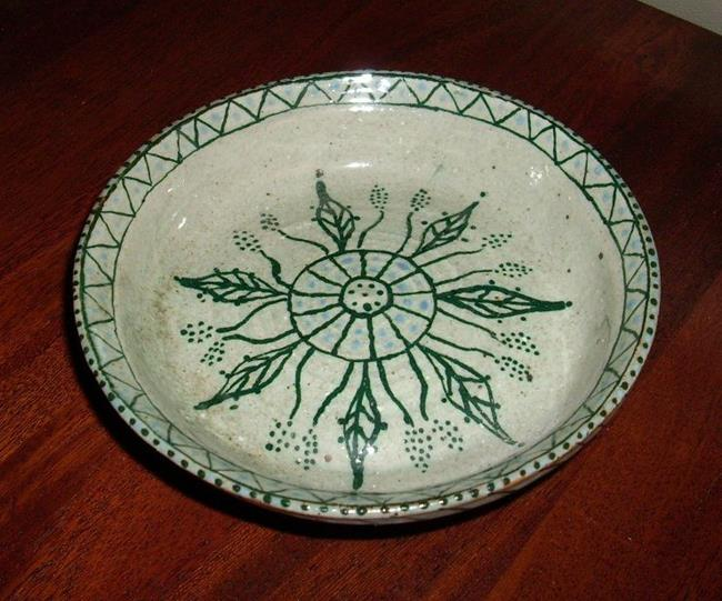 Art: Southwest Celadon Dish by Artist Sherry Key