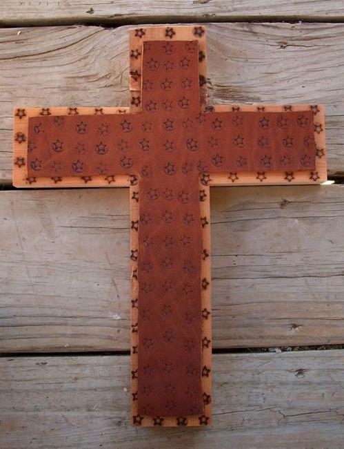 Art: Wood-Leather Cross by Artist Sherry Key